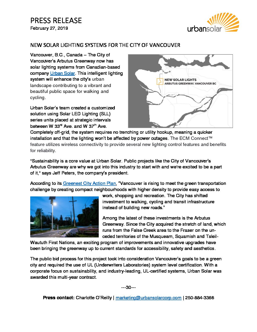 Urban Solar - New Solar Lighting Systems for the City of Vancouver